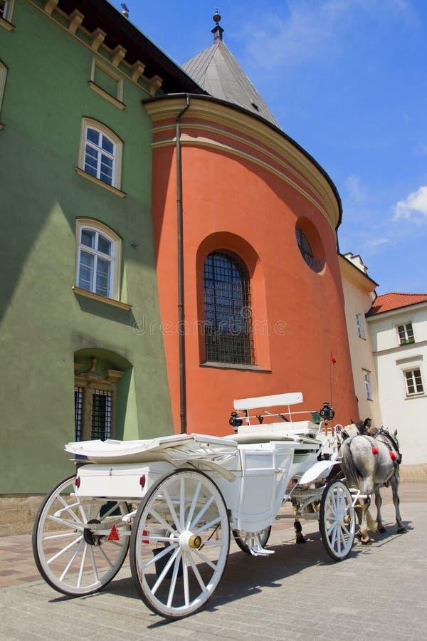 carraige Cavallo-guidato a Cracovia fotografia stock