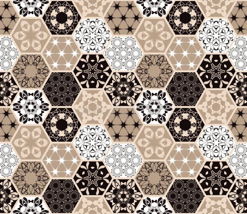 Carreaux de céramique hexagonaux orientaux de luxe Configuration sans joint florale colorée Fond de patchwork illustration stock