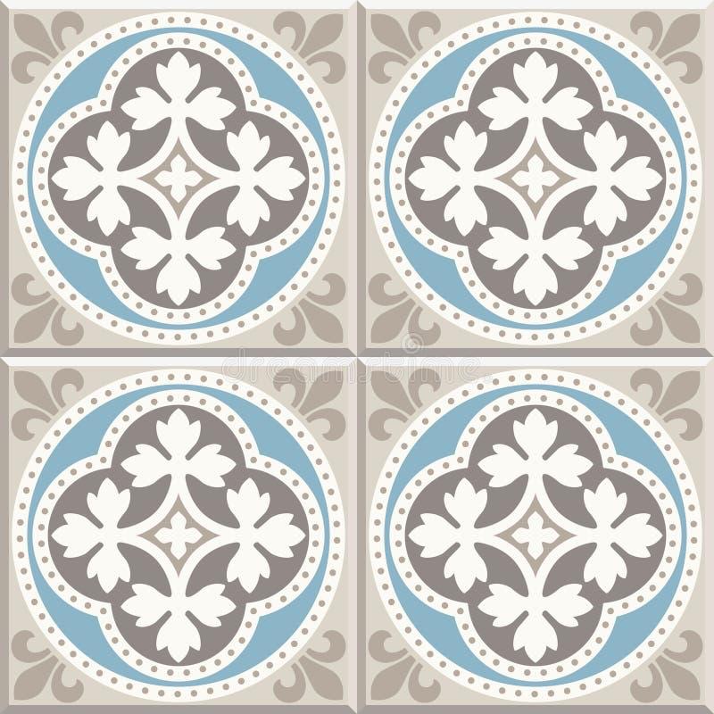 Carreaux de céramique de plancher antique Conception anglaise victorienne de carrelage de plancher, modèle sans couture de vecteu illustration libre de droits