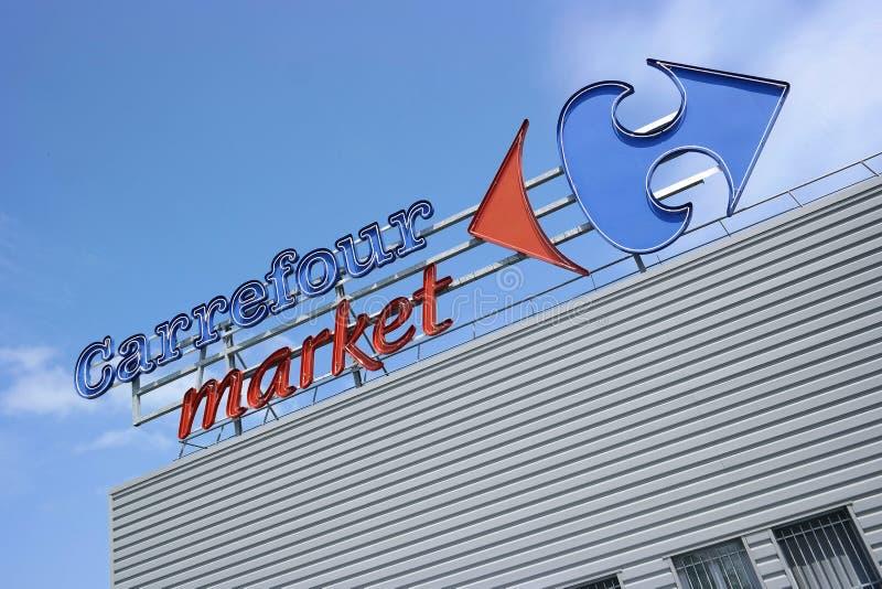 Carrefour Embleem royalty-vrije stock fotografie