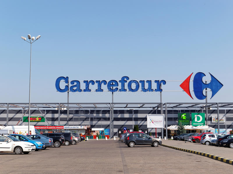Carrefour Hypermarket. FOCSANI, ROMANIA - JANUARY 2, 2016. Facade of Carrefour Hypermarket. Carrefour is a French multinational retailer, and one of the largest royalty free stock images