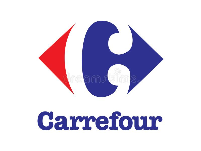 Carrefour Logo Editorial Vector Illustration illustration de vecteur