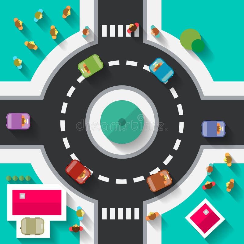Carrefour plat de rond point de conception de vue supérieure illustration de vecteur
