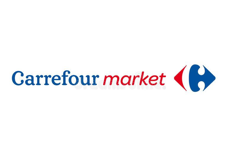 Carrefourmarknadslogo royaltyfri illustrationer