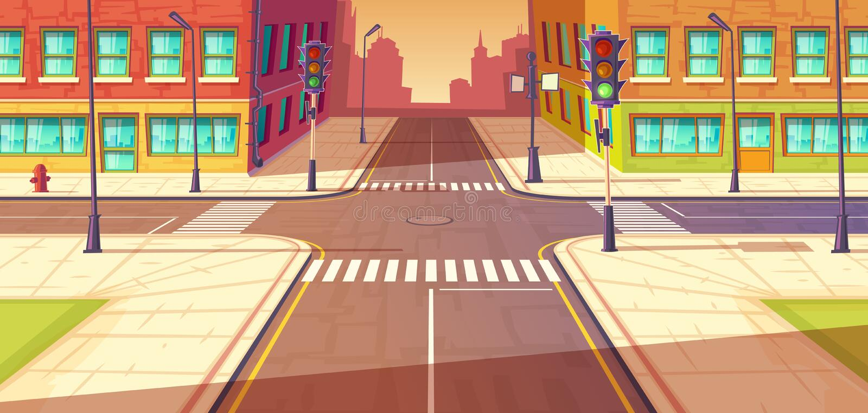 Carrefours de ville, illustration de vecteur d'intersection Route urbaine, passage piéton avec des feux de signalisation illustration de vecteur