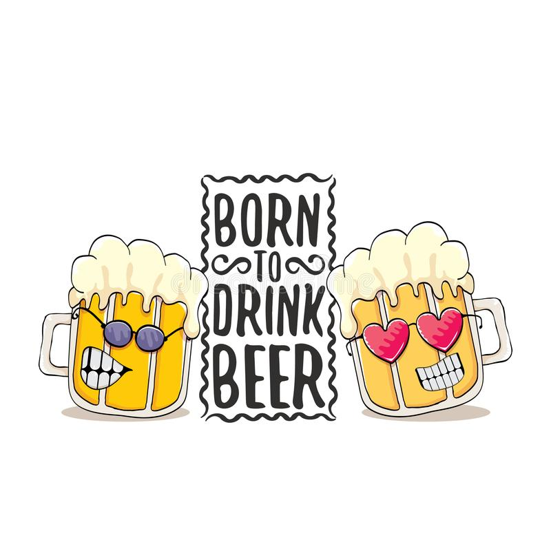 Carregado beber a ilustração da cópia do conceito do vetor da cerveja ou o cartaz do verão vector o caráter funky da cerveja com  ilustração stock