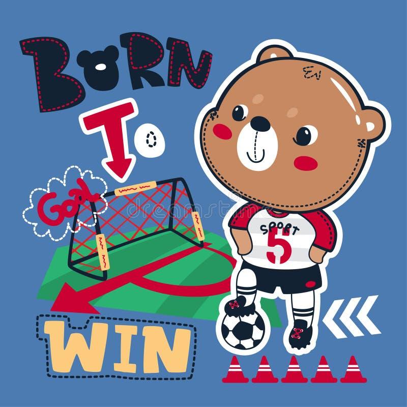 Carregado ganhar o gráfico do slogan com o futebol bonito do urso de peluche que pisa a bola ilustração stock