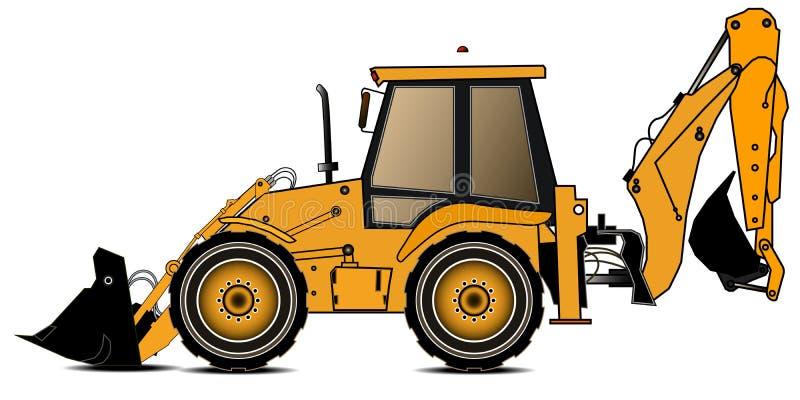 Carregador amarelo do backhoe em um fundo branco Máquina escavadora Equipamento especial Ilustração do vetor ilustração royalty free