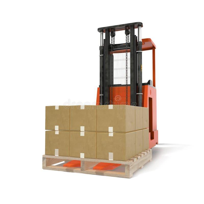 Carregador com as caixas na pálete isolada sob o branco ilustração 3D ilustração do vetor