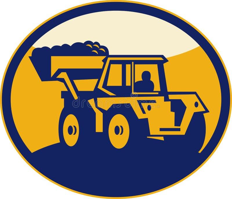 Carregador da parte dianteira do escavador mecânico ilustração do vetor