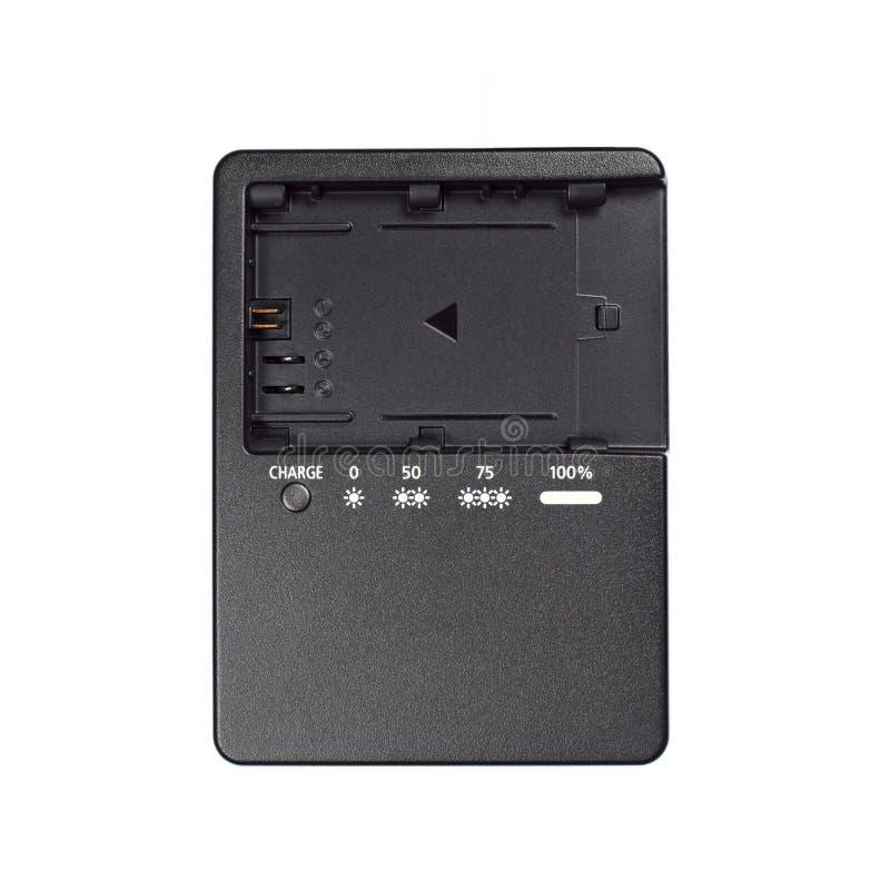 carregador de bateria plástico preto no branco imagens de stock royalty free