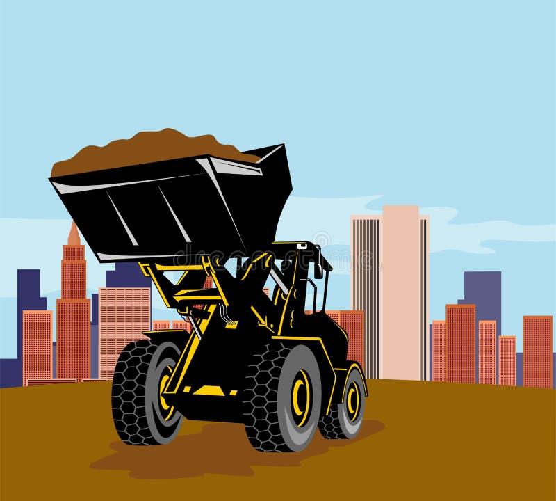 Carregador dianteiro com edifícios ilustração royalty free
