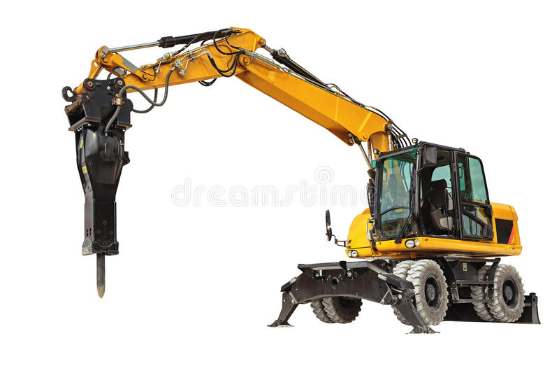Carregador do Backhoe ou escavadora - máquina escavadora com o isola do trajeto de grampeamento fotos de stock royalty free