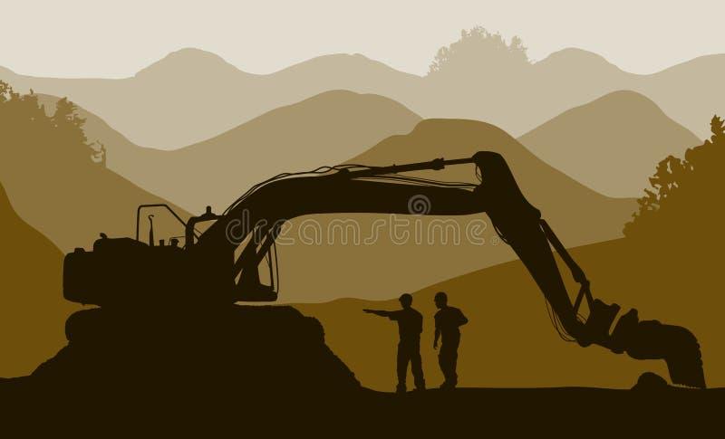 Carregador e trabalhadores de máquina escavadora nos meus ilustração do vetor
