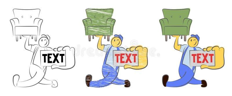 Carregador movente forte do indivíduo do serviço Um carregador engraçado que mostra um pedaço de papel vazio Reparo, construção,  ilustração stock