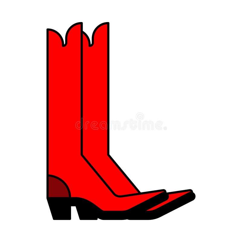Carregadores de cowboy vermelhos Sapatas do estilo country Ilustração do vetor ilustração stock