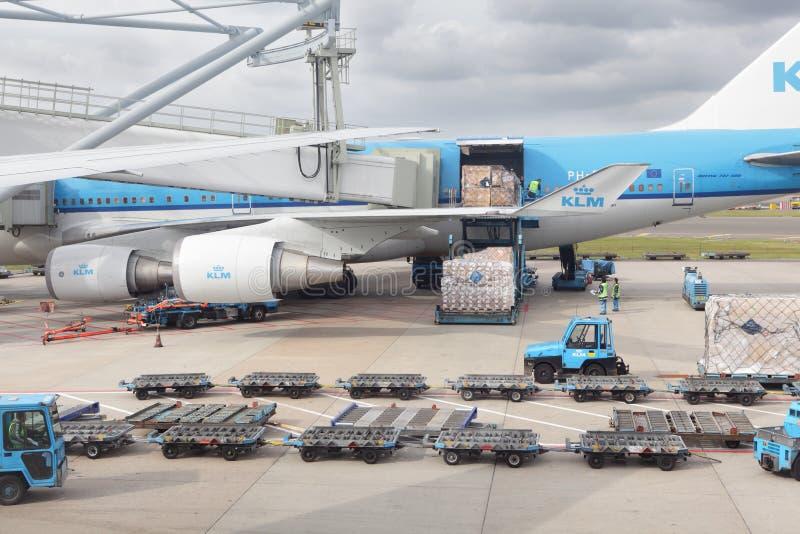 Carregamento da carga do avião do KLM fotografia de stock