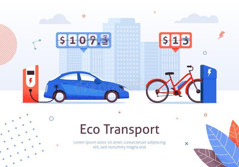 Carregamento do carro elétrico e da E-bicicleta do transporte de Eco ilustração stock