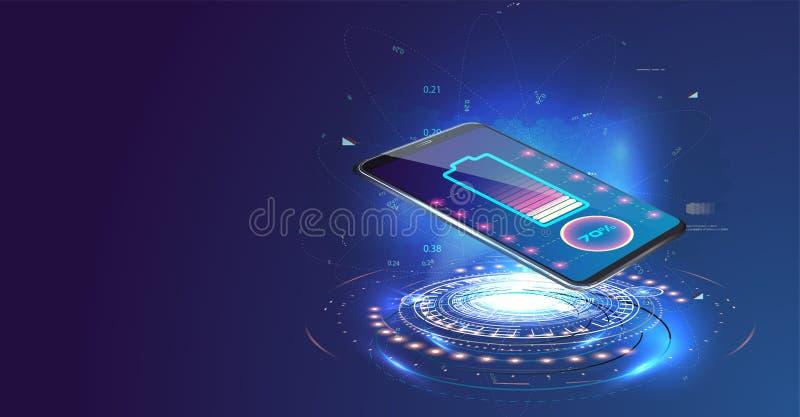 Carregamento sem fio da bateria do smartphone Conceito futuro ilustração royalty free