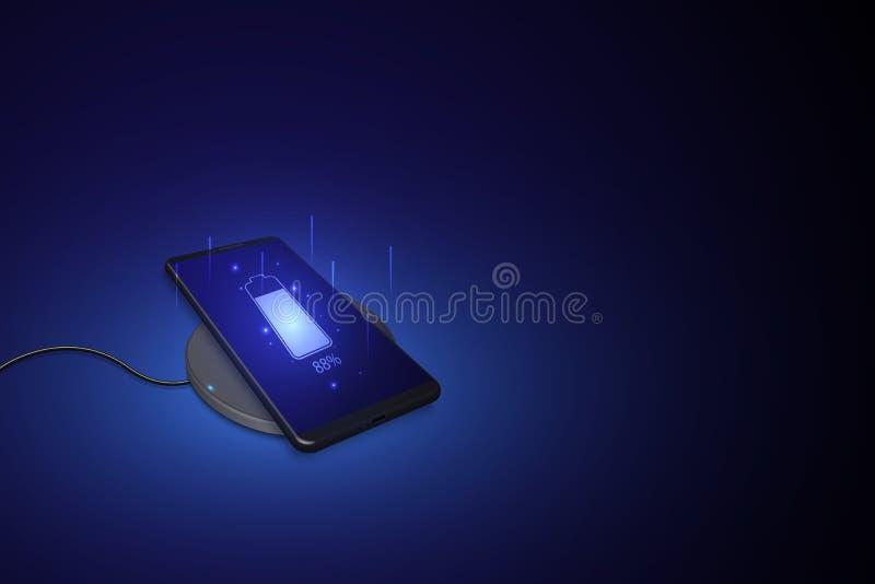 Carregamento sem fio da bateria do smartphone Conceito futuro O progresso de carregar a bateria do telefone Cobrar sem fio ilustração do vetor
