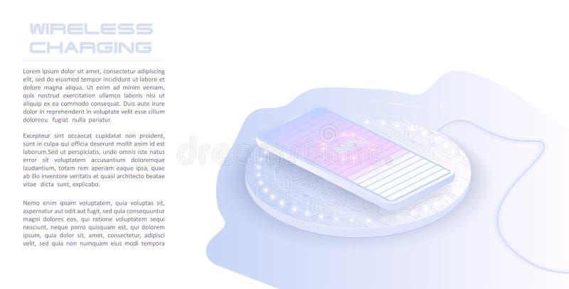 Carregamento sem fio da bateria do smartphone Conceito futuro O progresso de carregar a bateria do telefone ilustração do vetor