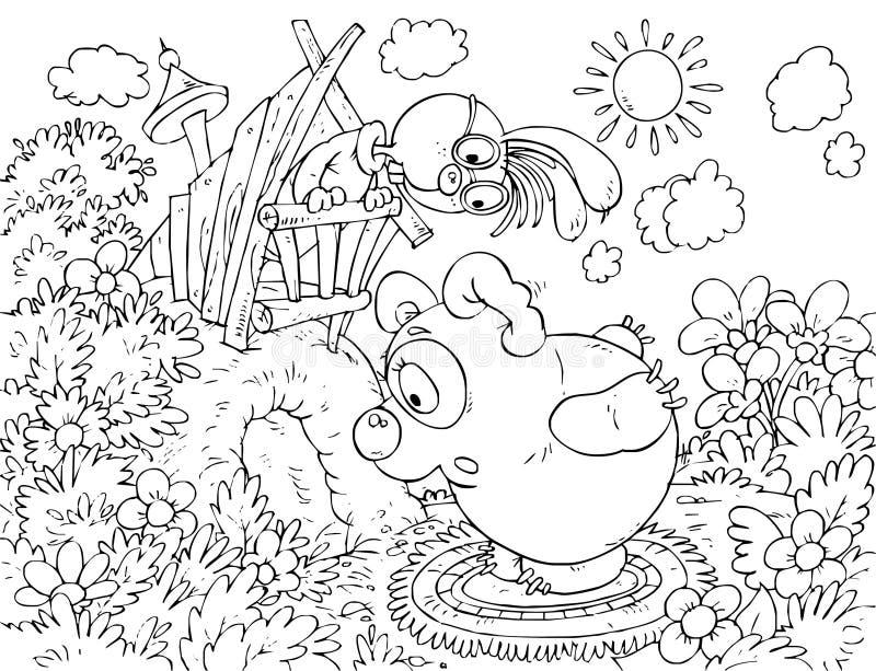 Carregar-filhote que chama o coelho que senta-se em seu furo ilustração do vetor