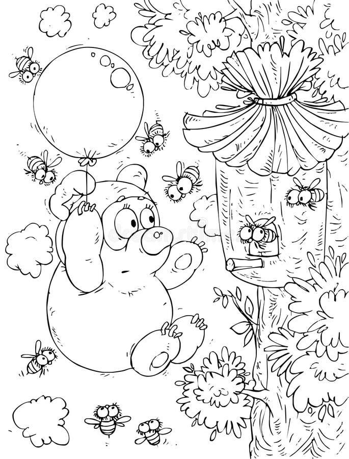 Carregar-filhote que voa o balão em torno de uma colmeia ilustração stock