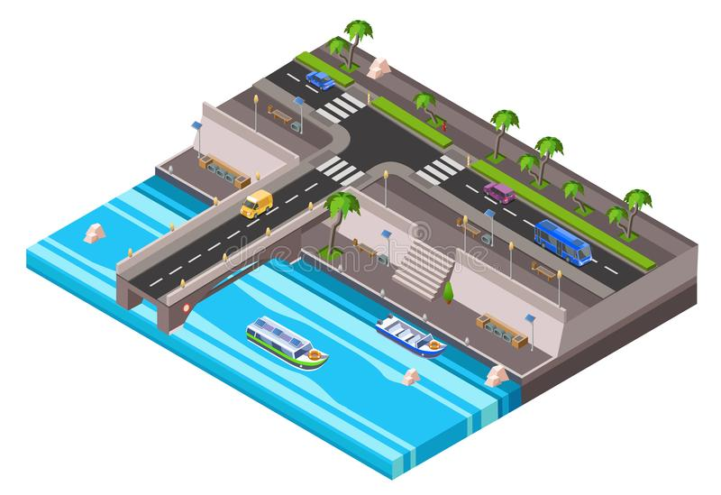 Carreggiata isometrica dell'automobile dell'argine della riva del fiume di vettore illustrazione vettoriale