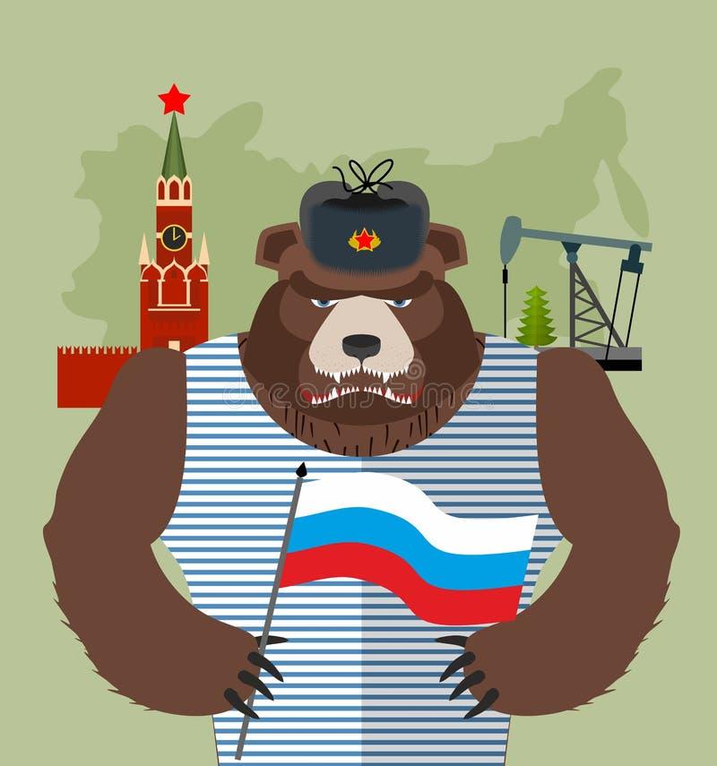 Carregue com as aletas da orelha com a bandeira de Rússia Fundo de Moscou ilustração royalty free