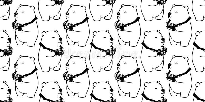 Carregue desenhos animados isolados sem emenda da ilustração do fundo do papel de parede do fotógrafo da câmera do urso polar do  ilustração royalty free