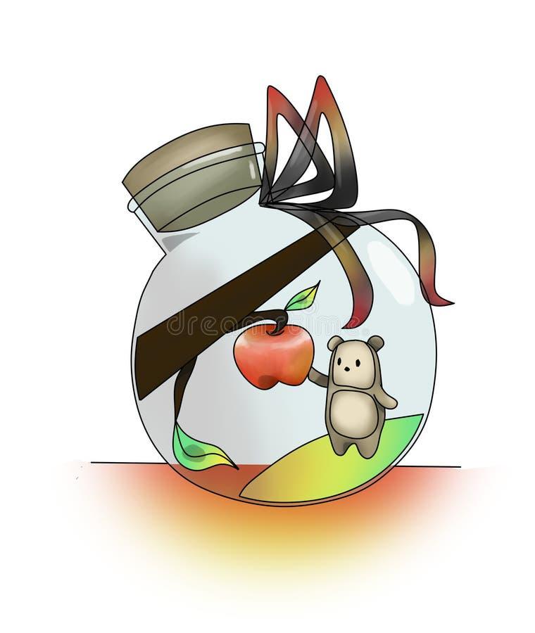 Carregue estudar o mundo em uma maçã da garrafa ilustração royalty free