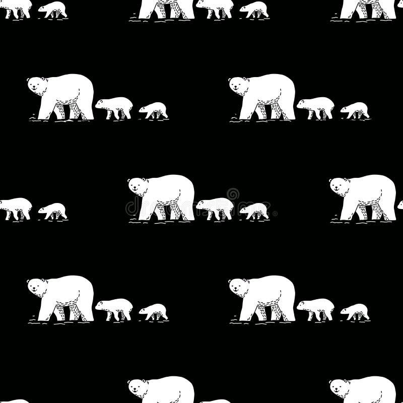 Carregue o fundo isolado do papel de parede da garatuja da peluche do ícone do vetor da panda do urso polar do teste padrão camin ilustração stock