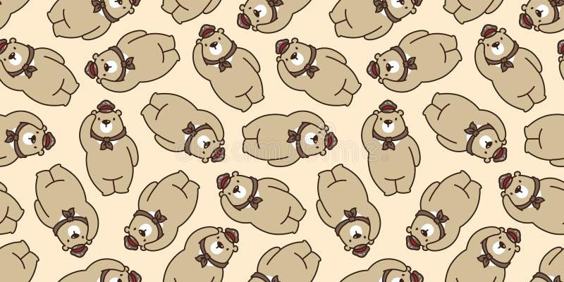 Carregue o marrom isolado do papel de parede da repetição do fundo do tampão do chapéu do lenço da peluche da panda do urso polar ilustração royalty free