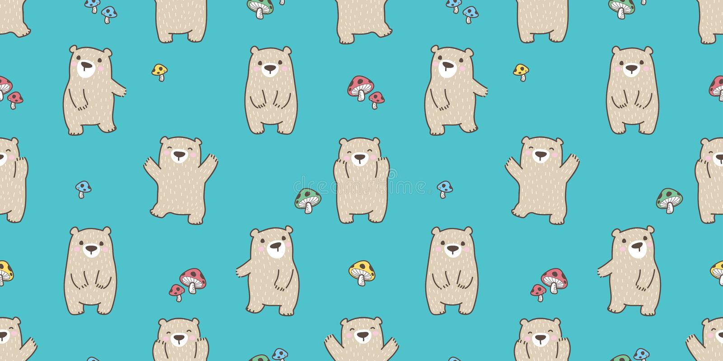 Carregue o papel de parede isolado do fundo do cogumelo da peluche do urso polar do vetor do teste padrão floresta feliz sem emen ilustração royalty free