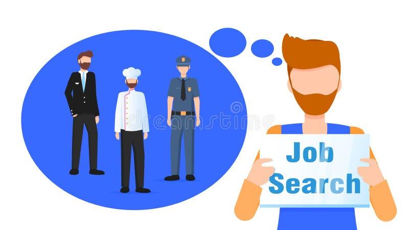 Carreira ideal do sinal farpado da procura de emprego da posse do homem ilustração royalty free