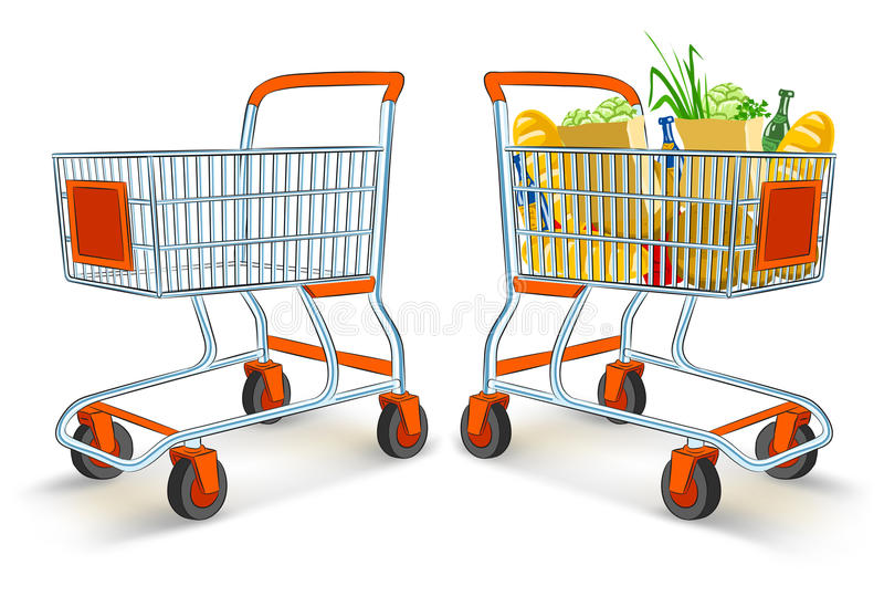 Carrelli di acquisto pieni e vuoti illustrazione vettoriale