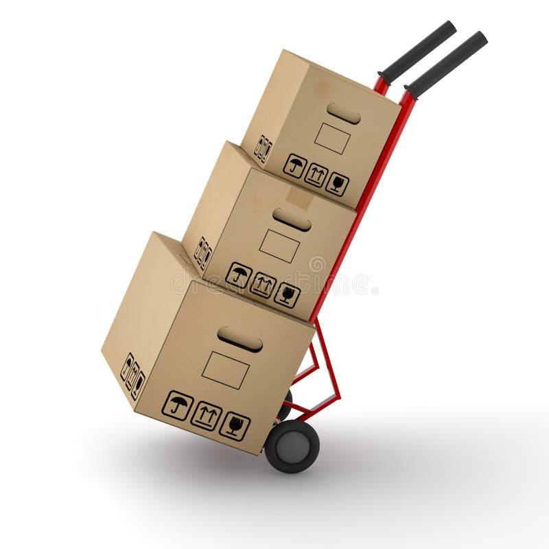 Carrello commovente del camion delle scatole a disposizione illustrazione di stock