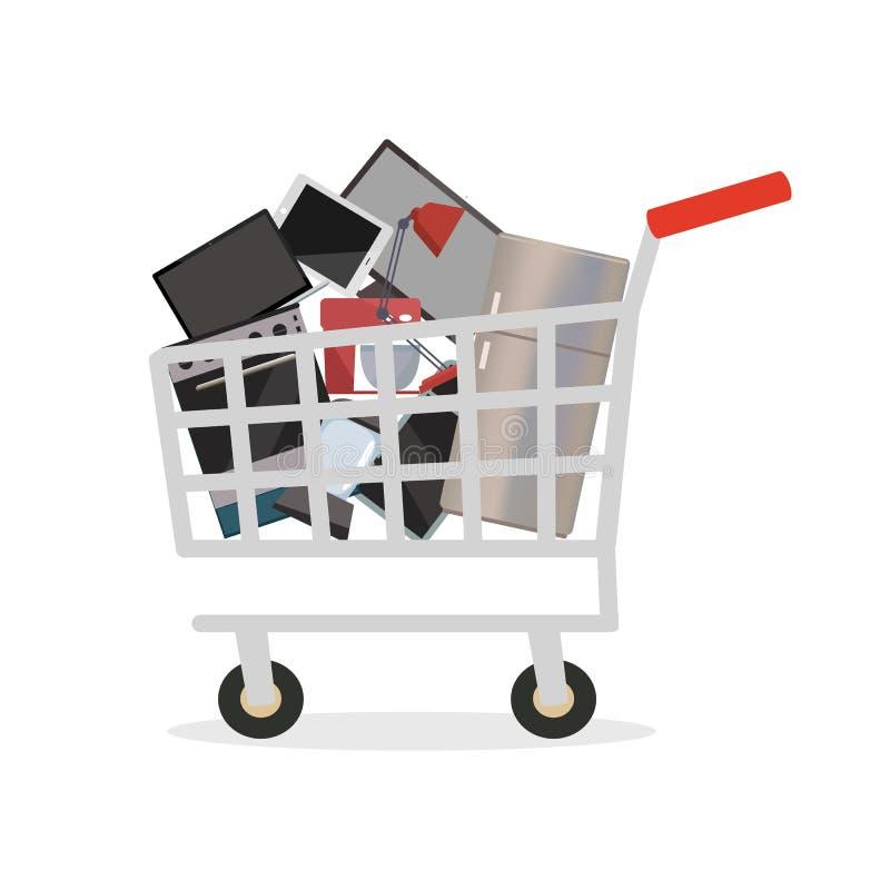 Carrello con gli elettrodomestici e l'elettronica illustrazione di stock