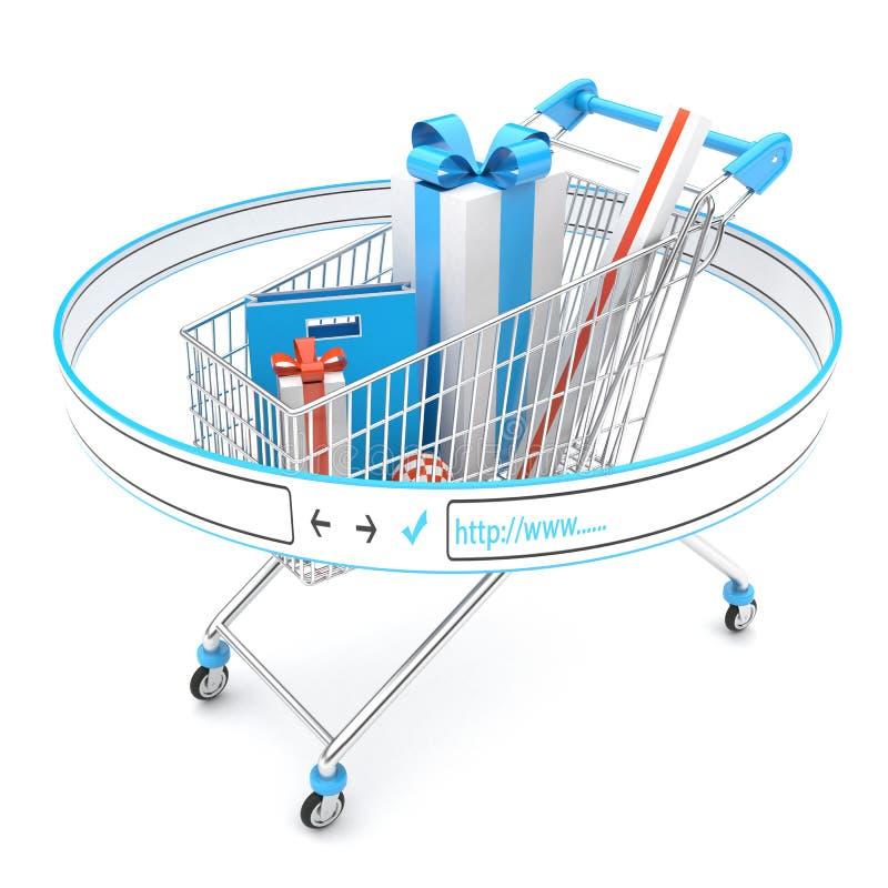 Carrello con i regali, negozio online fotografie stock libere da diritti