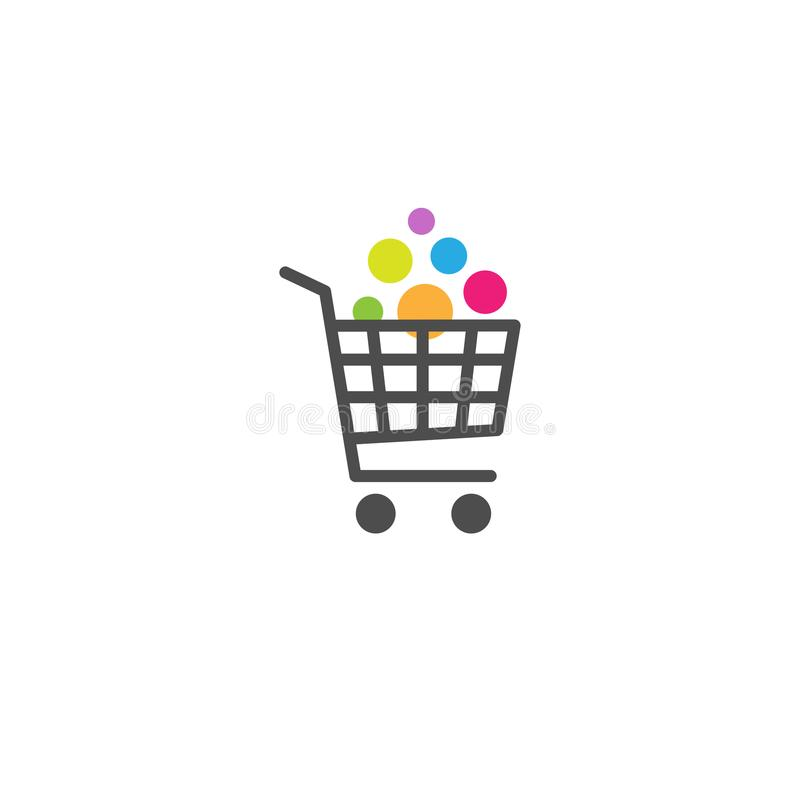 Carrello con il bottone delle merci Acquisto luminoso Icona semplice isolata su fondo bianco Immagazzini il carrello illustrazione vettoriale