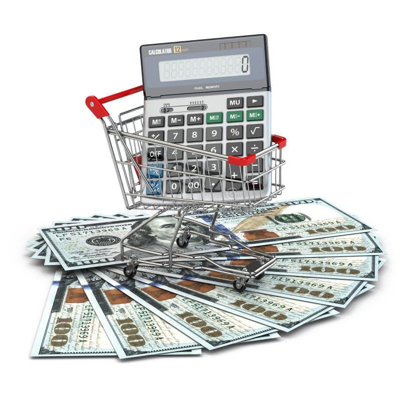 Carrello con il calcolatore sulle banconote del dollaro. illustrazione vettoriale