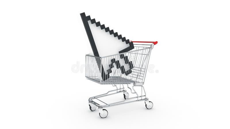 Carrello con il cursore del topo illustrazione di stock