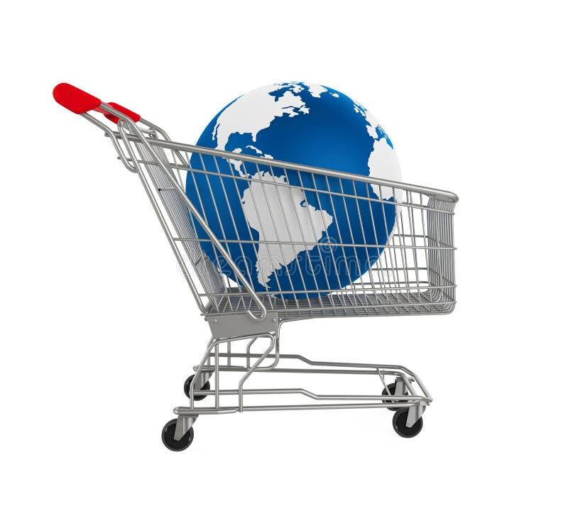 Carrello con il globo della terra illustrazione di stock