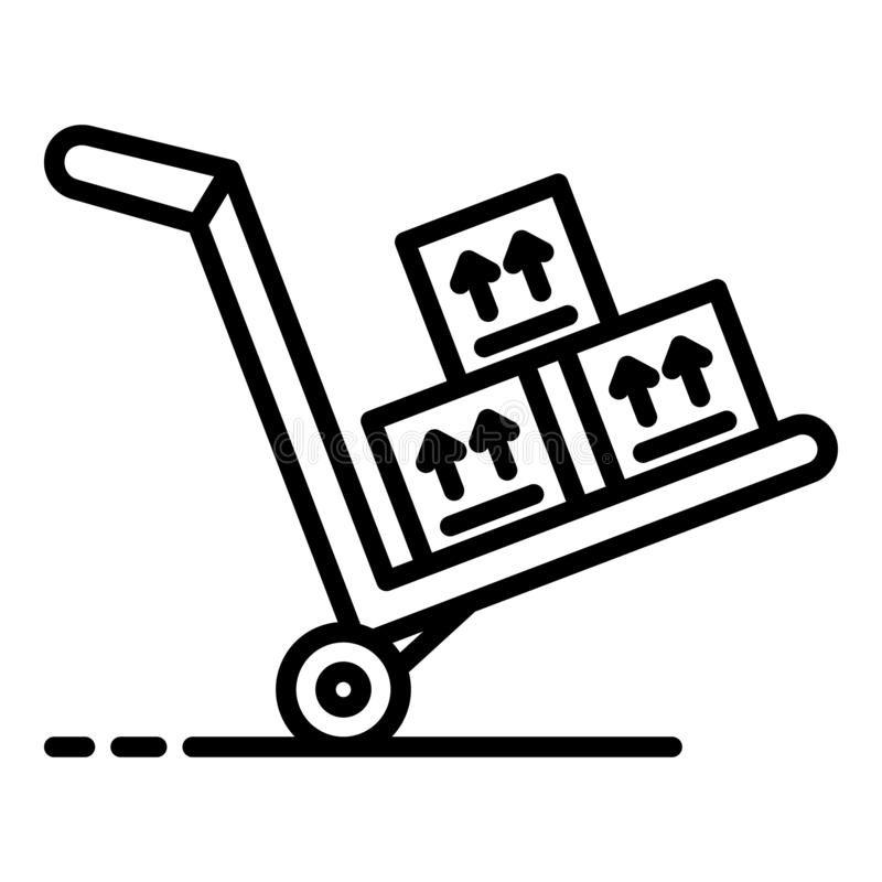 Carrello con l'icona delle merci, stile del profilo illustrazione vettoriale