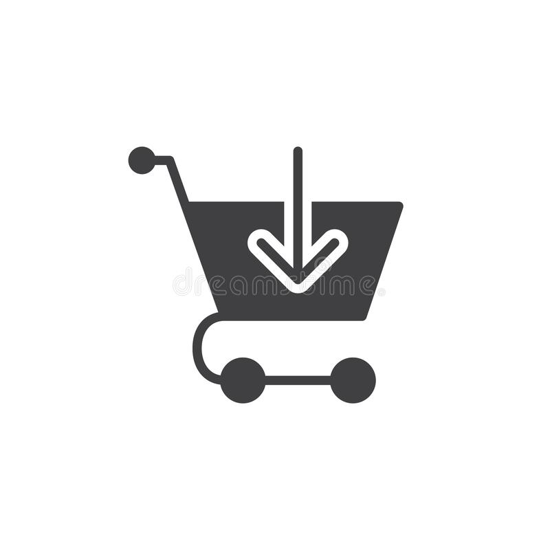 Carrello con la freccia dentro il vettore dell'icona illustrazione di stock