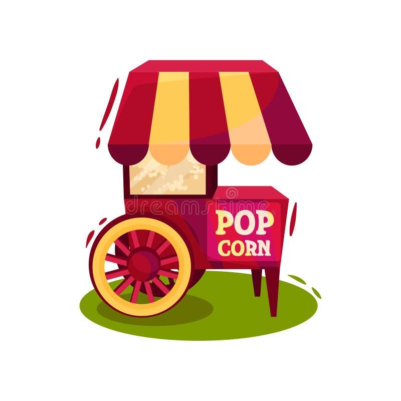 Carrello con la macchina del popcorn Carnevale che vende carretto Spuntino saporito Progettazione di vettore del fumetto royalty illustrazione gratis