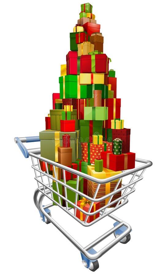 Carrello del carrello di acquisto con i lotti dei regali illustrazione di stock
