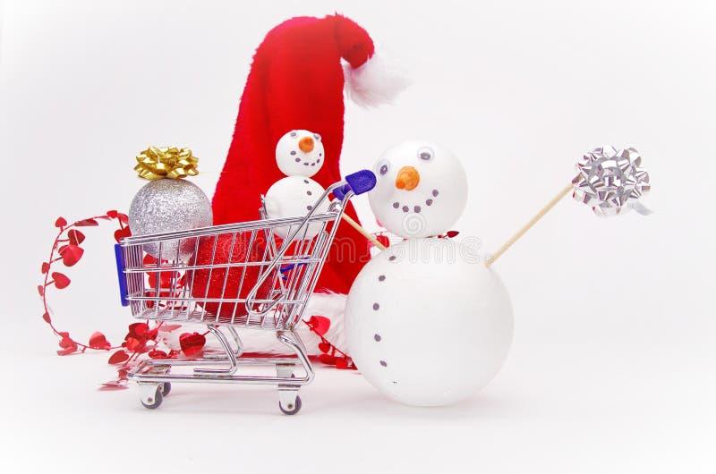 Carrello del pupazzo di neve fotografia stock
