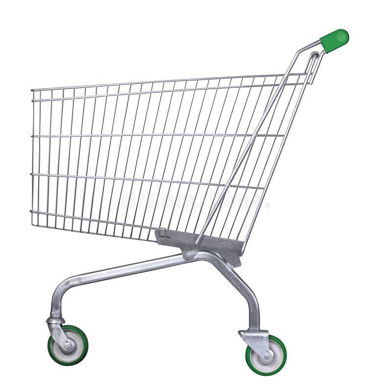 Carrello del supermercato con il percorso di residuo della potatura meccanica immagini stock