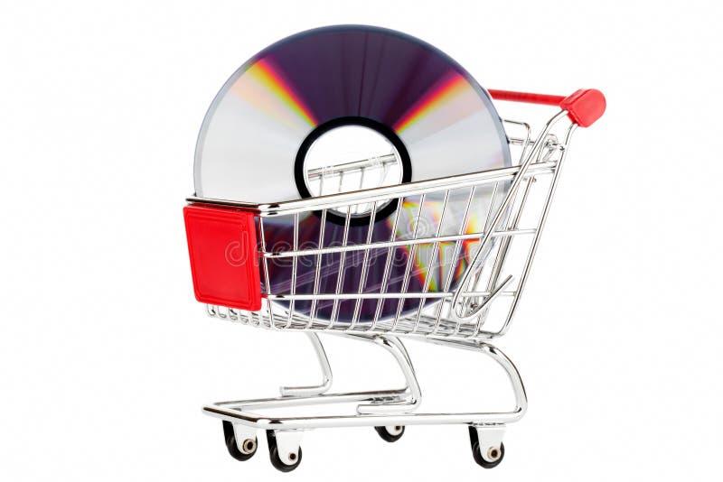 Carrello di acquisto con DVD fotografie stock libere da diritti